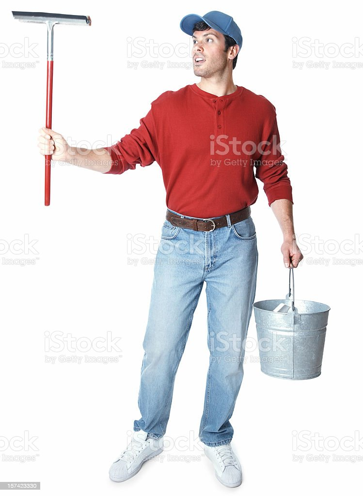 window washer standing holding squeegee and carrying bucket stock photo