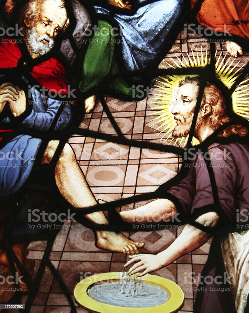 Window Washing the Feet, Church Saint-Etienne-du-Mont, Paris, stock photo