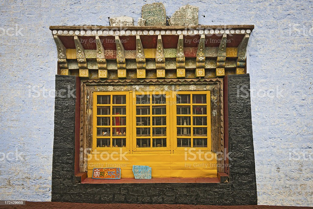 Window with Buddhist Mani Stones in Sikkim India stock photo