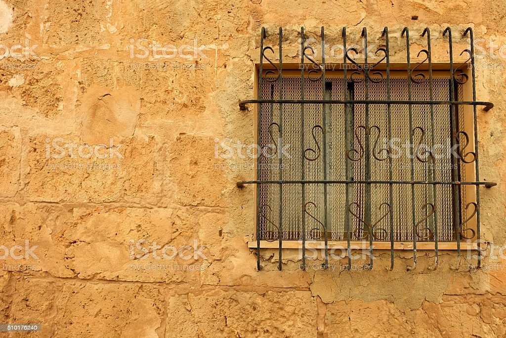 Window with grate stock photo