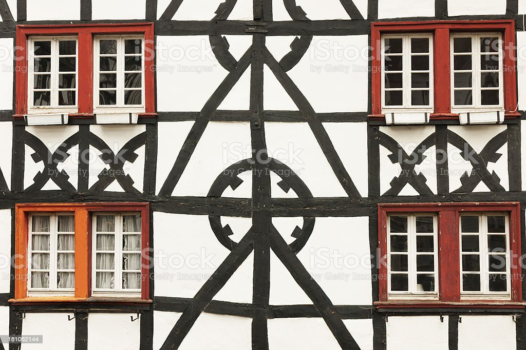 Window with half-timbered walls. stock photo