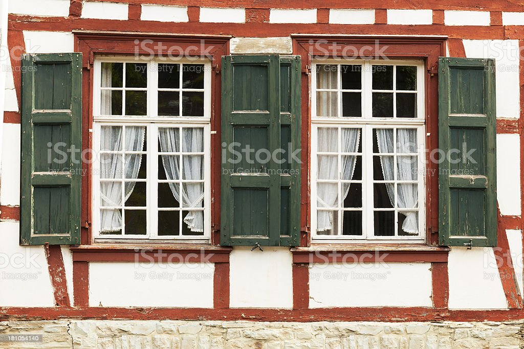 Window with half-timbered walls. royalty-free stock photo