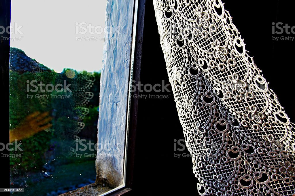 Window With Lace Curtain And Reflection stock photo