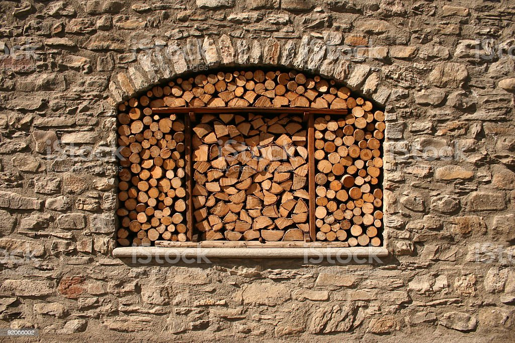 Window with logs royalty-free stock photo