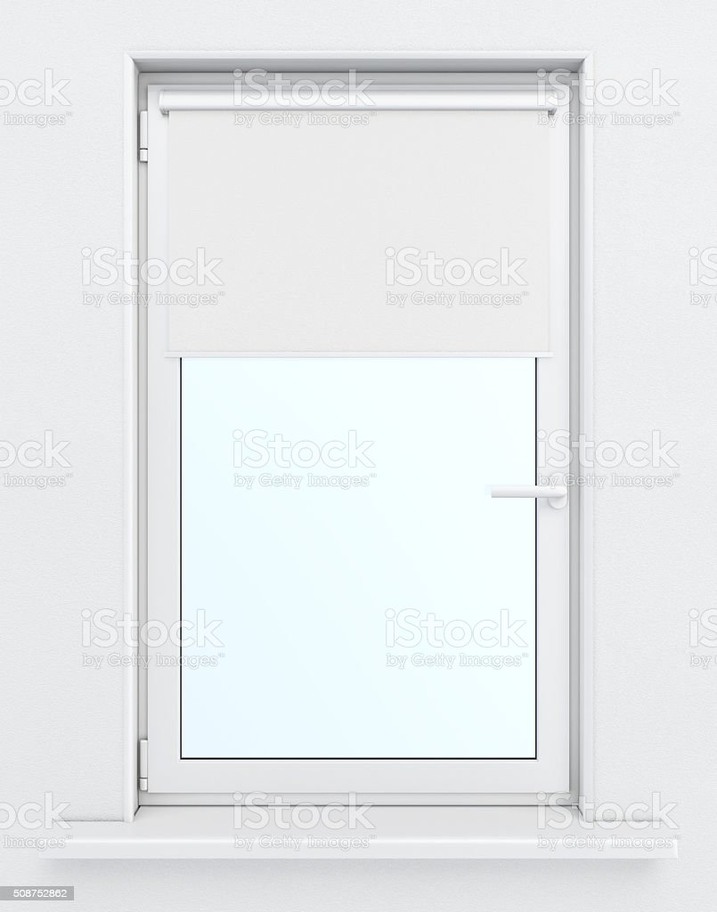 Window with lowered roller blind. 3d rendering stock photo