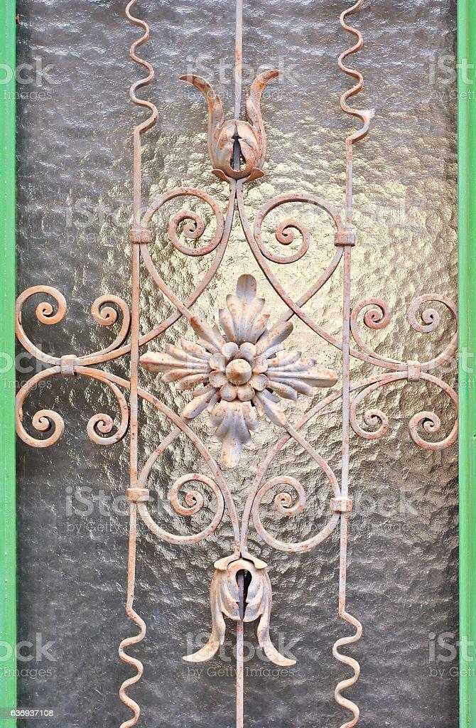 Window with metal lattice stock photo