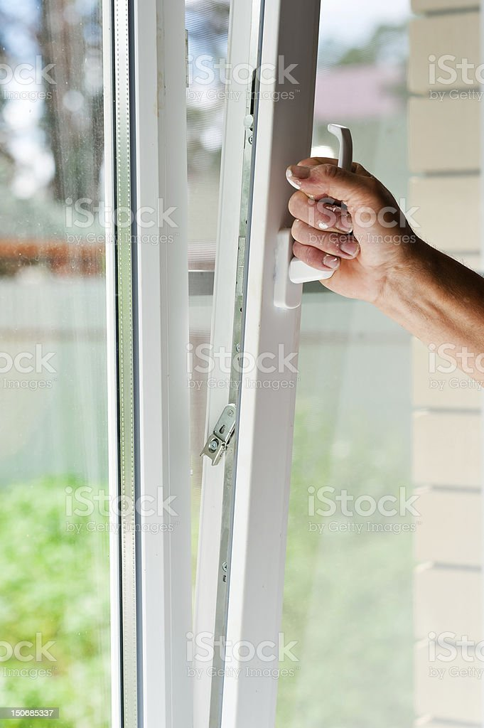 window with mosquito net royalty-free stock photo