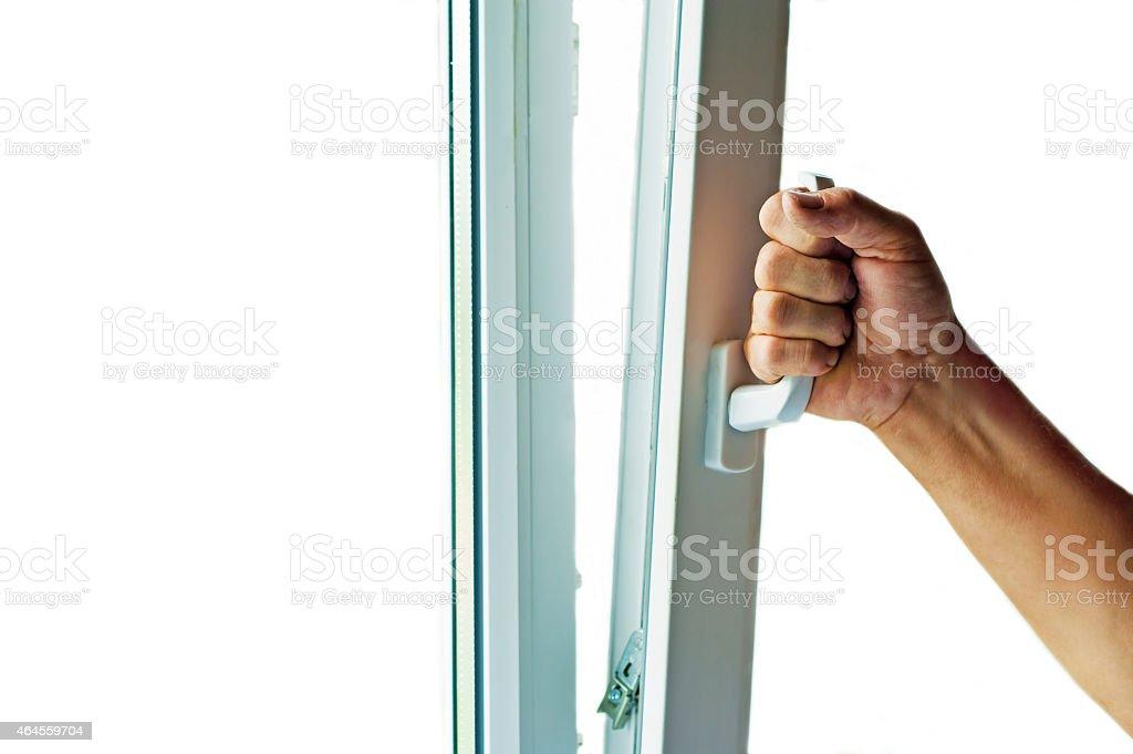 window with mosquito net stock photo