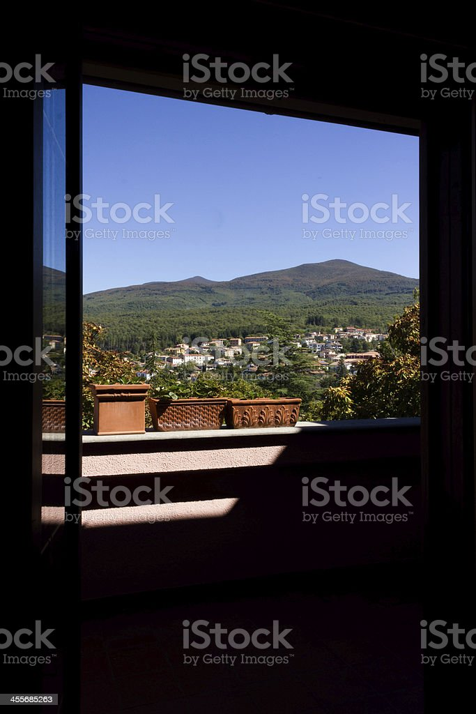 Window with mountain view royalty-free stock photo