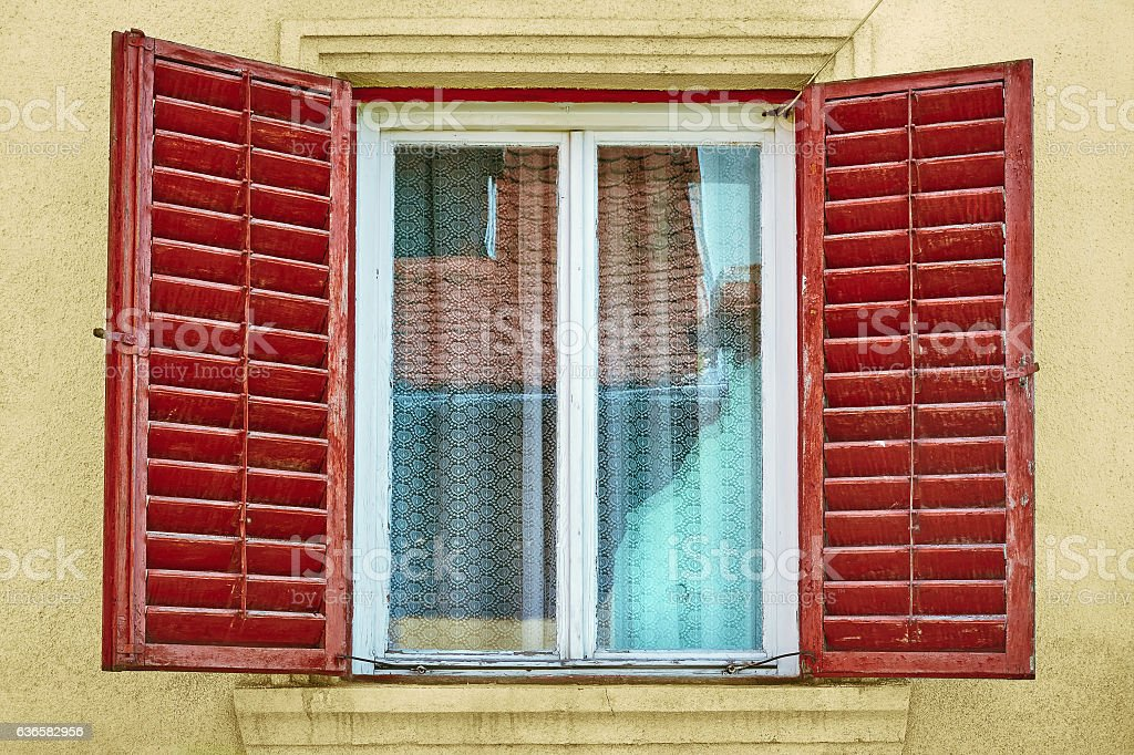 Window with Opened Shutters stock photo