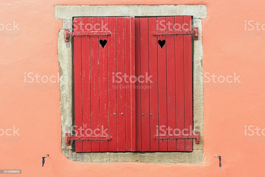 Window with red shutter in the Old Town of Strasbourg stock photo