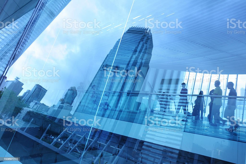 Window with reflections of a city skyline stock photo