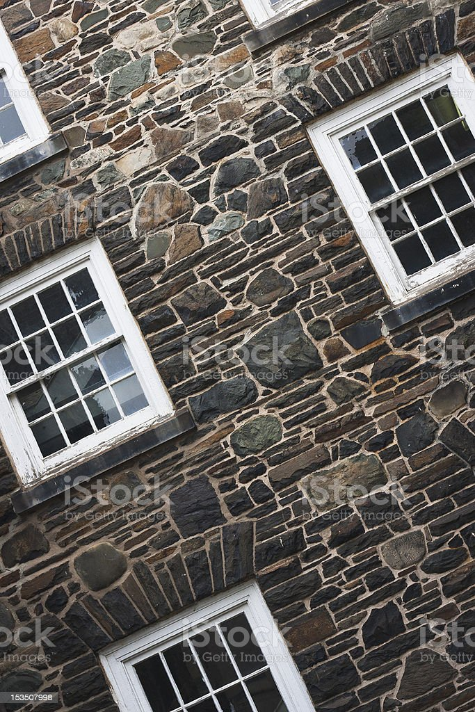 Windowed Stone Wall royalty-free stock photo