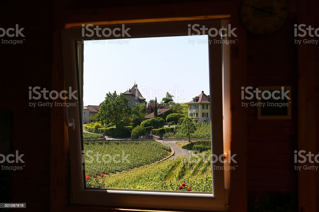 Window-framed view of Lavaux vineyards on Lake Geneva, Switzerland stock photo