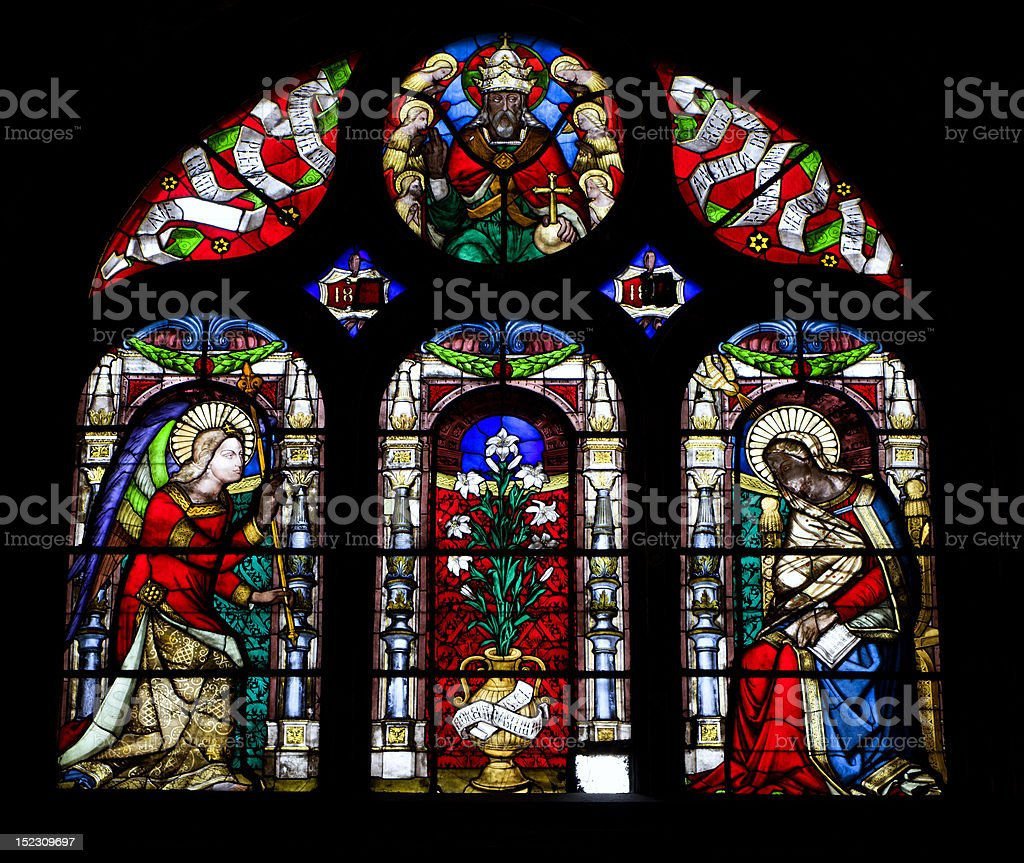 windowpane from Paris st. Eustache church - Annunciation stock photo