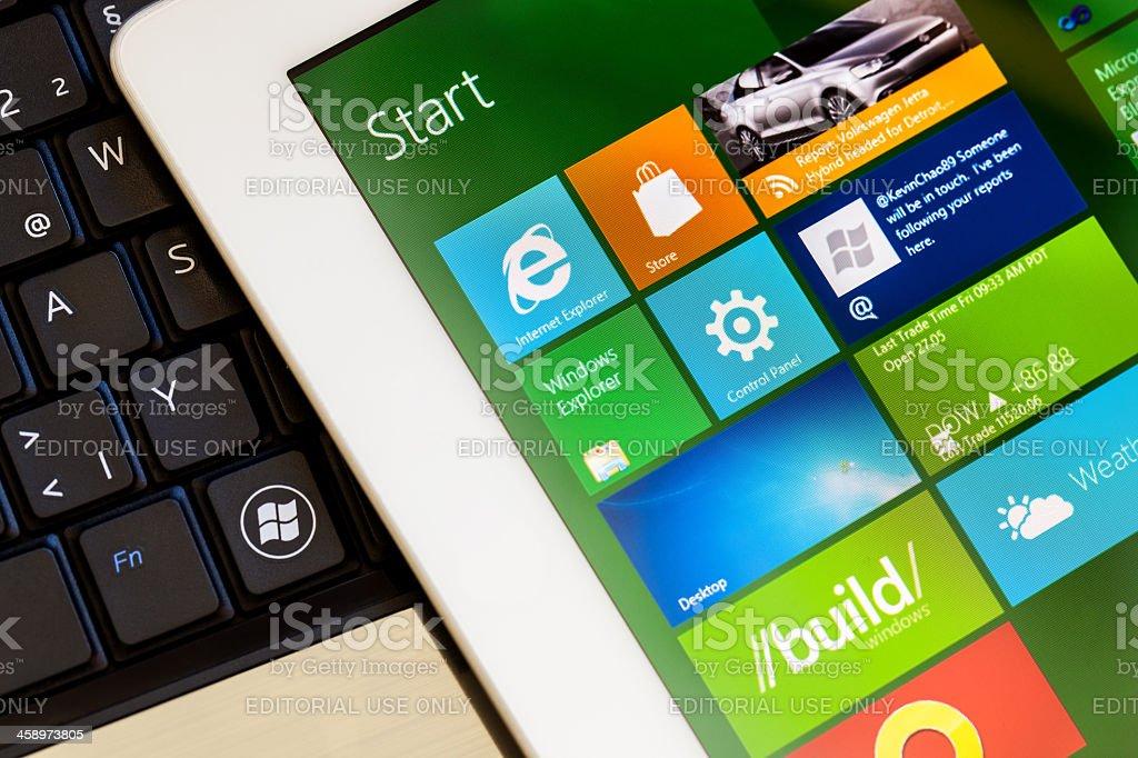 Windows 8 interface screenshot on ipad 2 stock photo