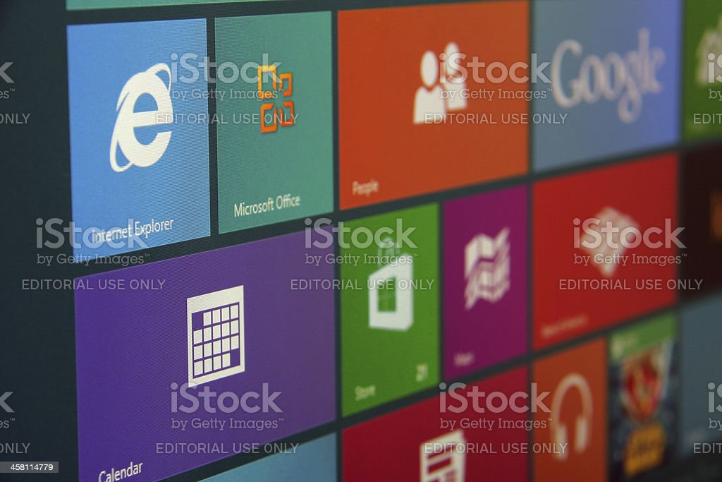 Windows 8 Start Screen Angled stock photo
