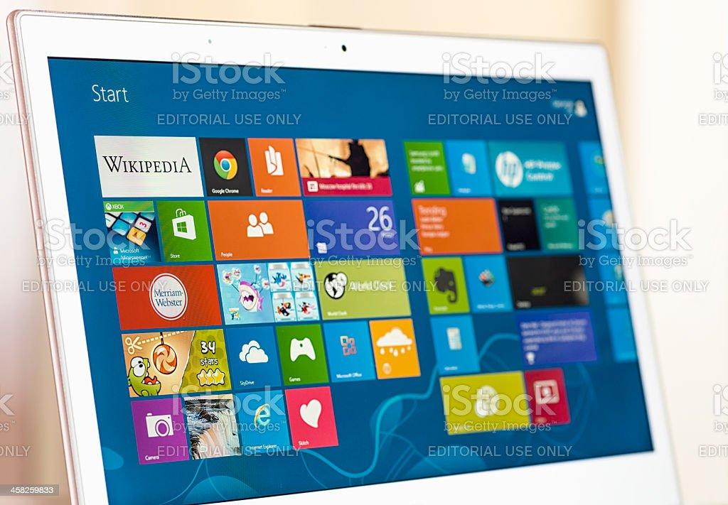 Windows 8 Start Screen on a Laptop stock photo