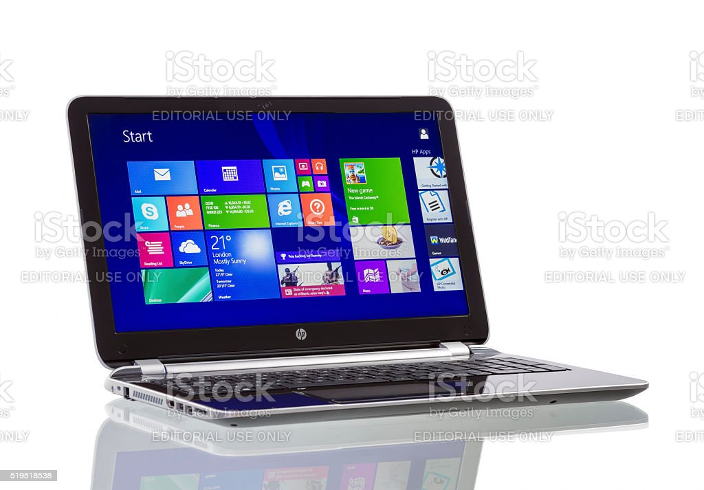 Windows 8.1 on HP Pavilion  Ultrabook stock photo