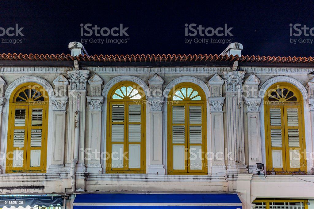 Windows and balconies in colonial architecture in Singapore - 7 stock photo