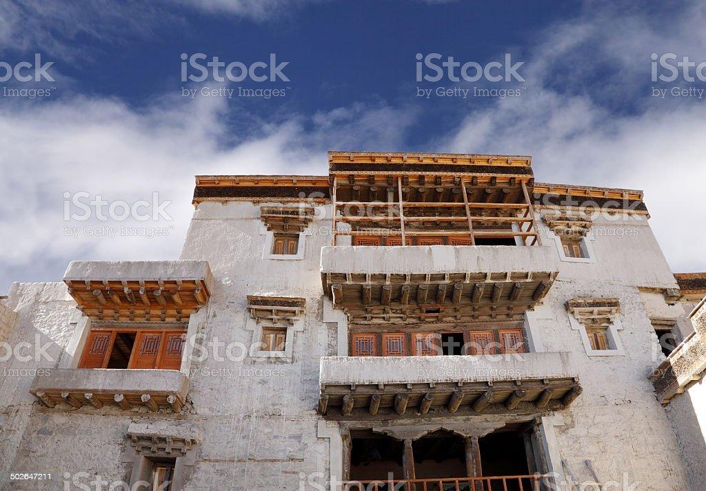 Windows and balcony of ancient leh Palace stock photo