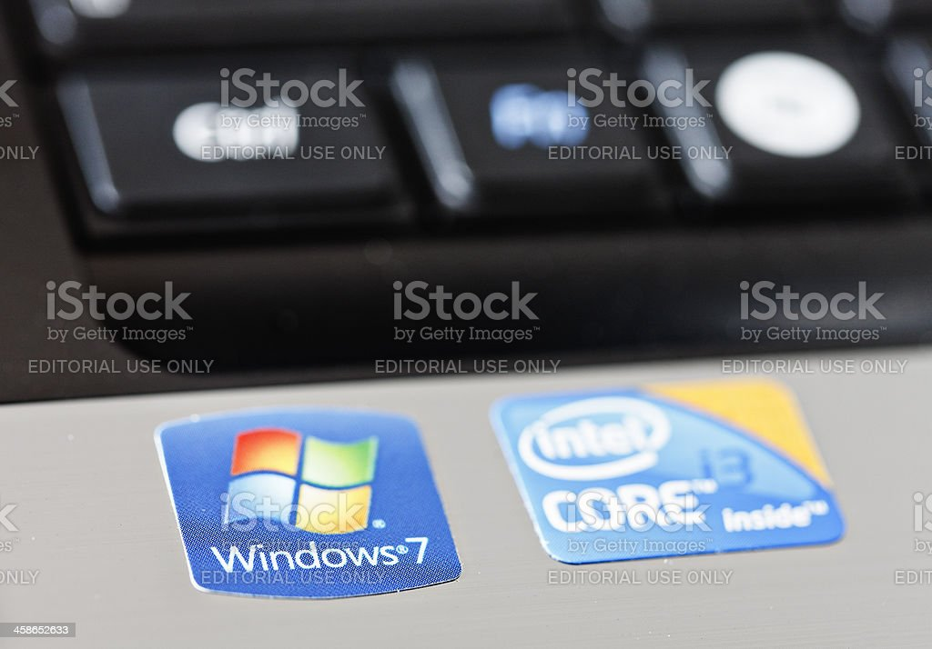 Windows and Intel stickers on new laptop computer stock photo
