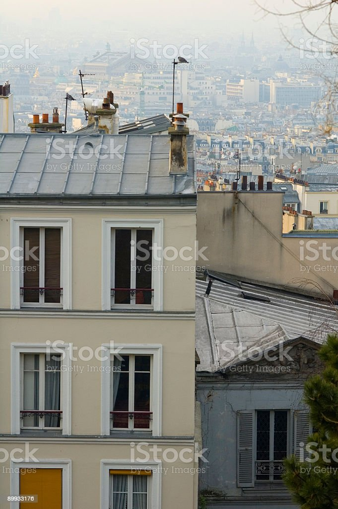 Windows and rooftops royalty-free stock photo