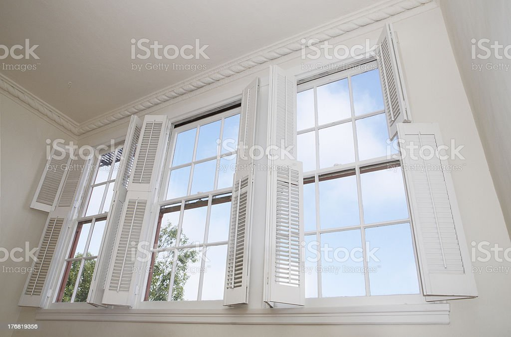 Windows and shutters stock photo
