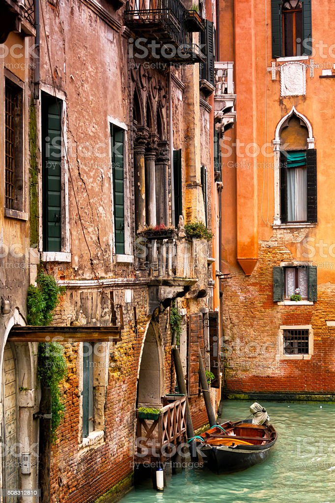 Windows and walls at Grand canal in Venice, Italy stock photo