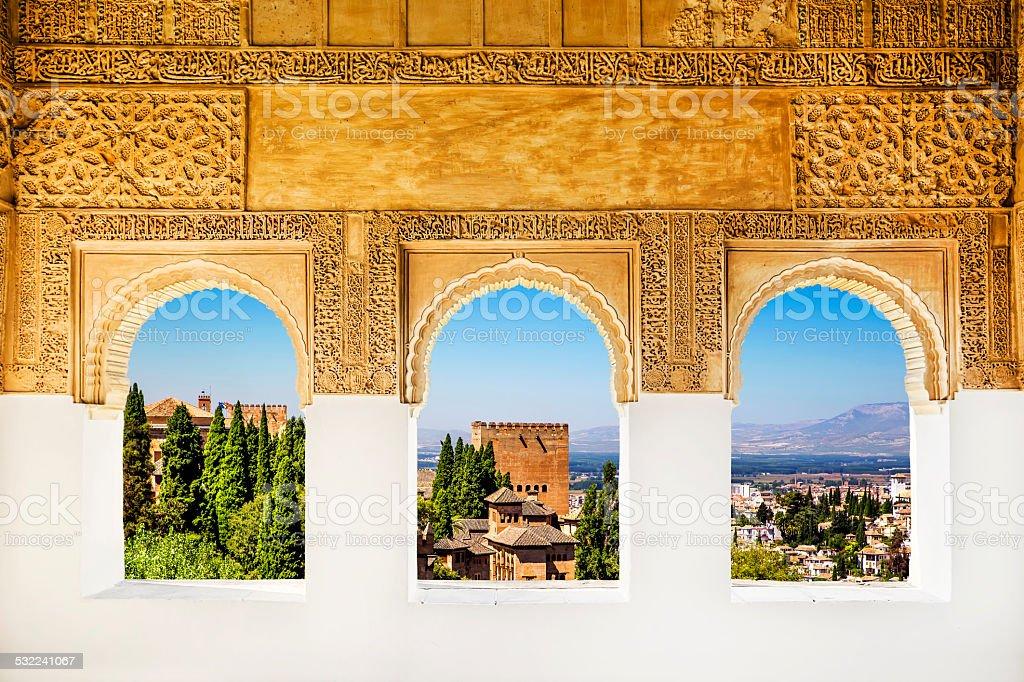 Windows at the Alhambra, Granada, Spain. stock photo