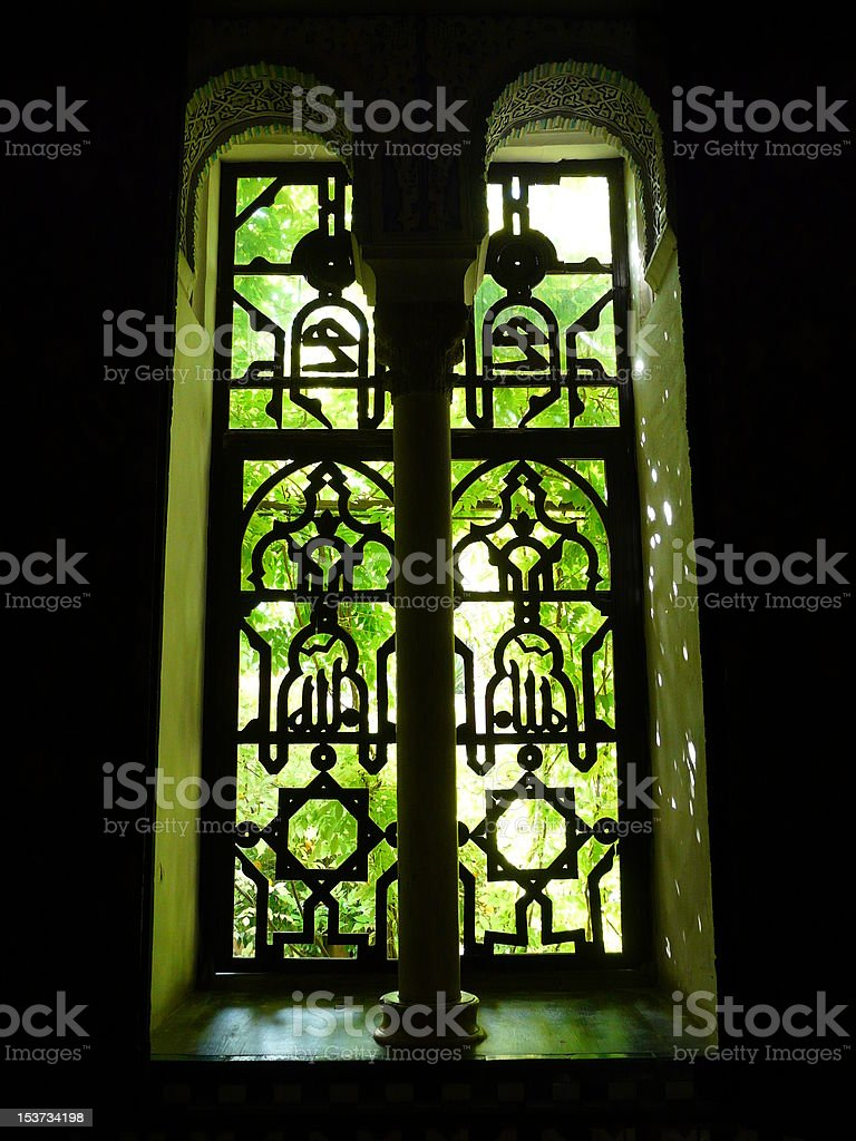 Windows at the Real Alcazar in Seville, Spain royalty-free stock photo