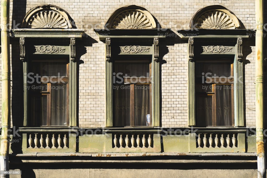 Windows classic on the facade in saint-petersburg stock photo