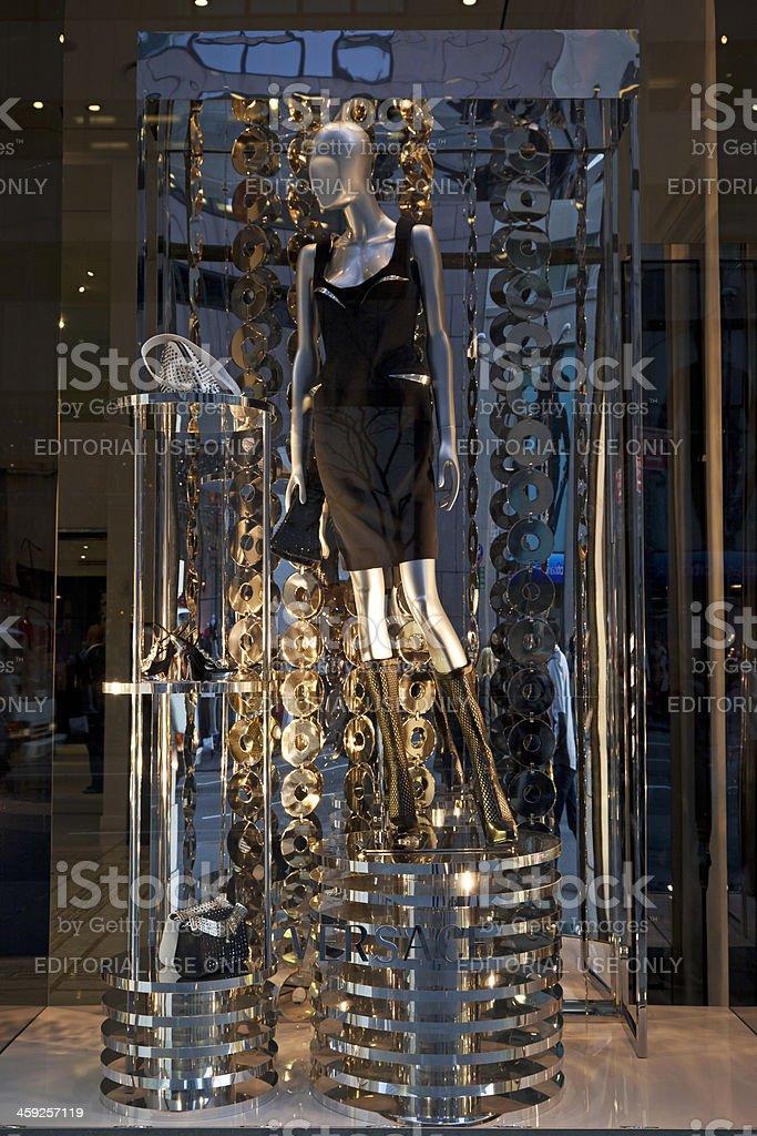Windows display Versace store NYC stock photo