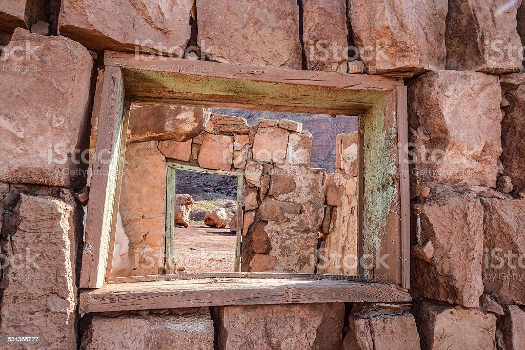 Windows Doors and Rock stock photo