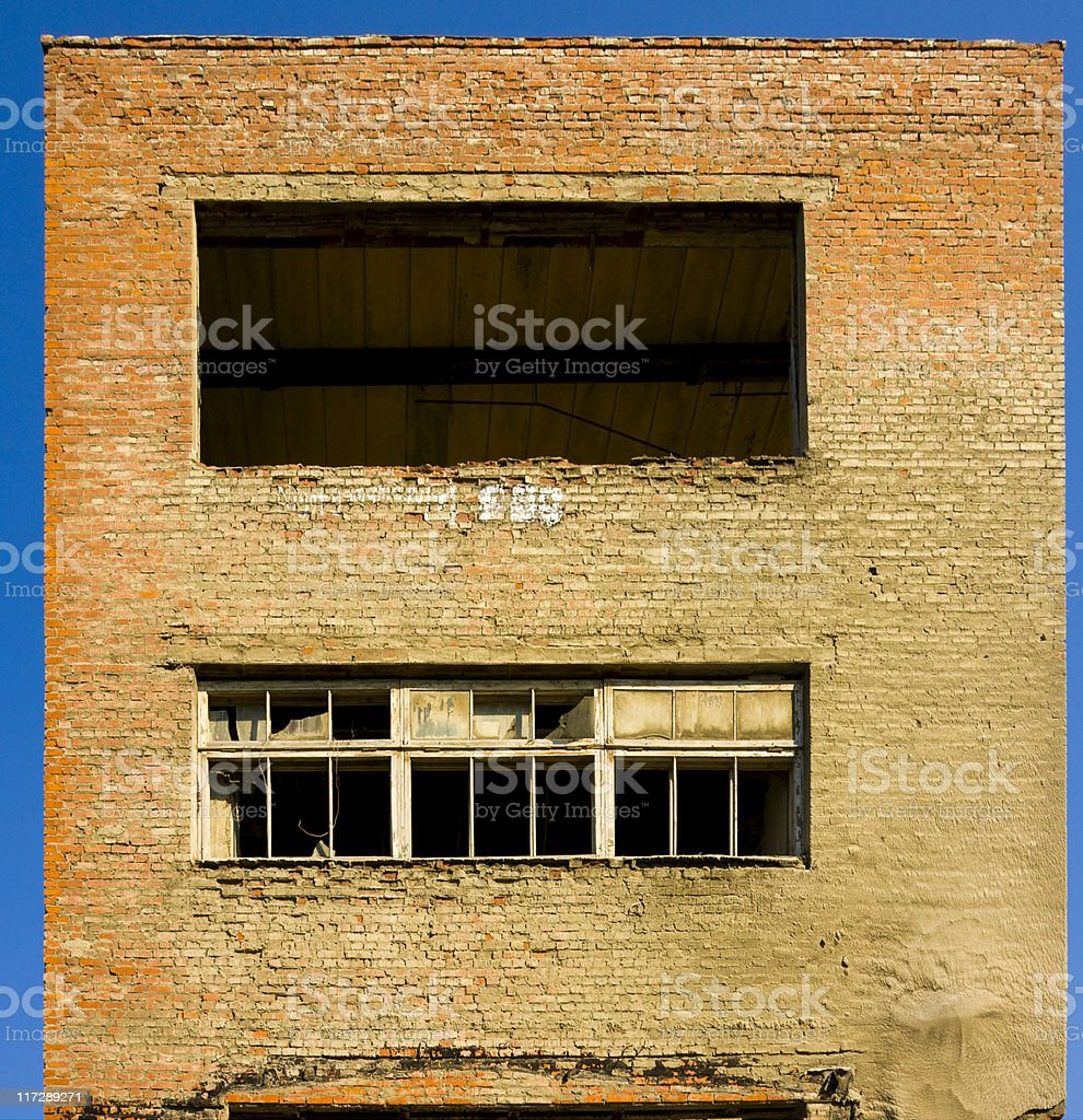 Windows in Abandoned Factory Buildings stock photo