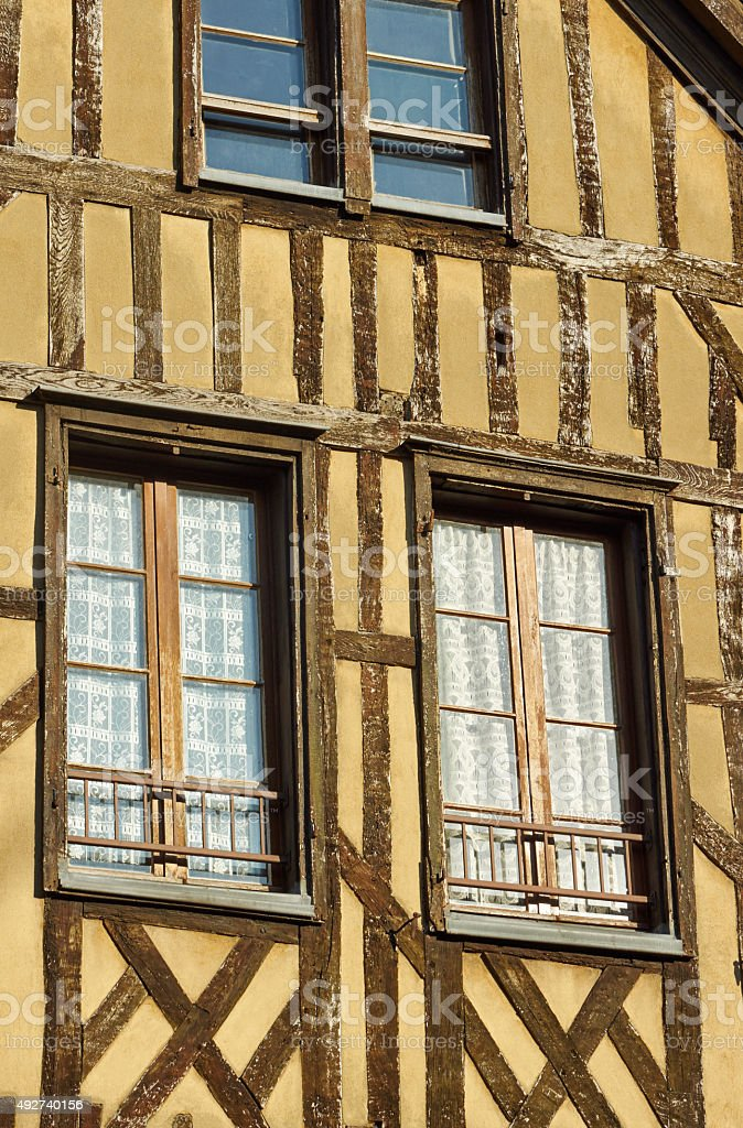 Windows in half-timbered house stock photo
