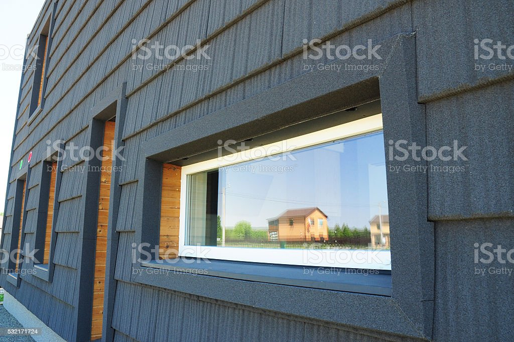 Windows in New Modern Passive House Facade Wall stock photo