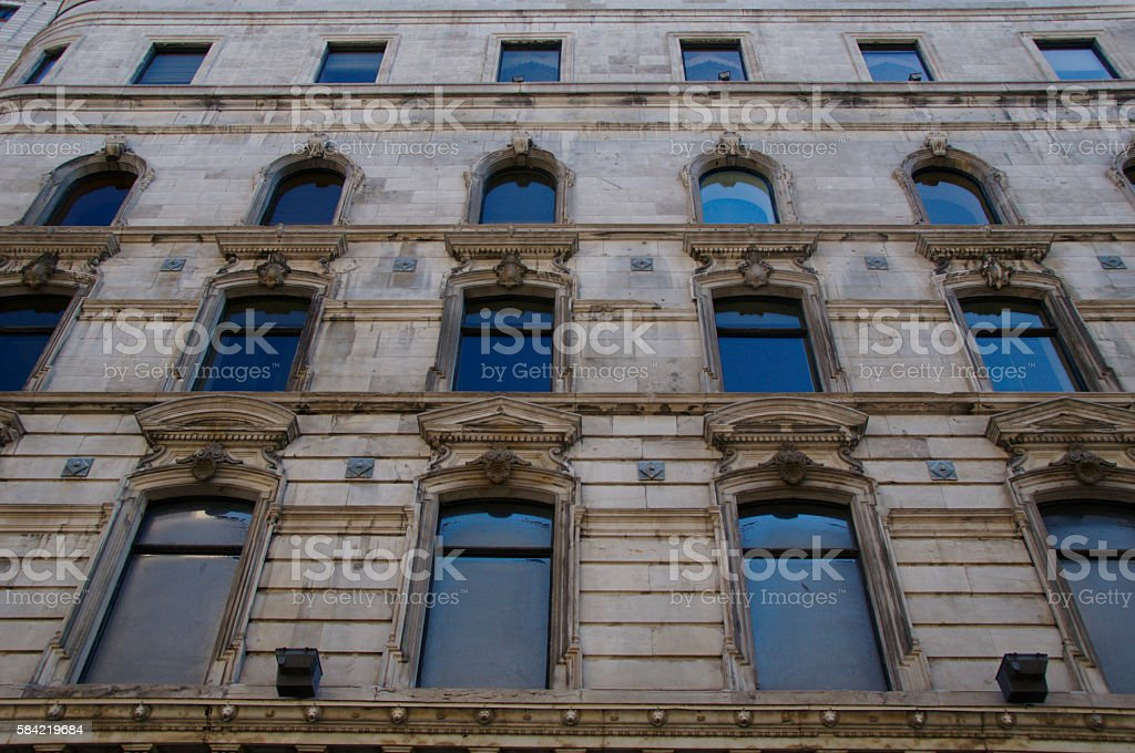 Windows in Old Montreal stock photo