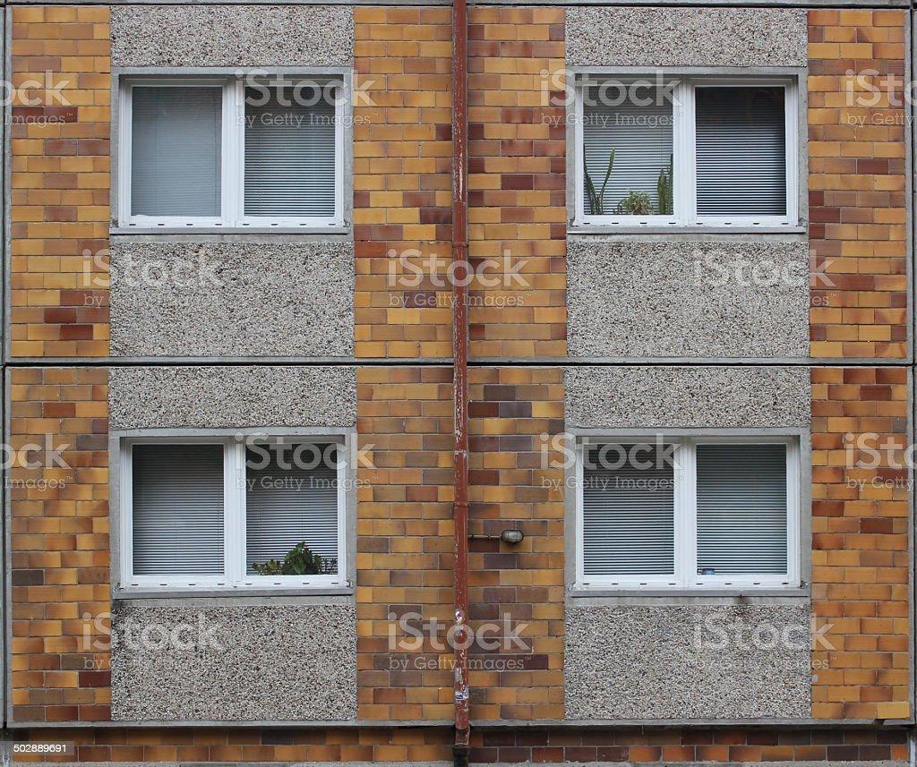 Windows In Plattenbau stock photo
