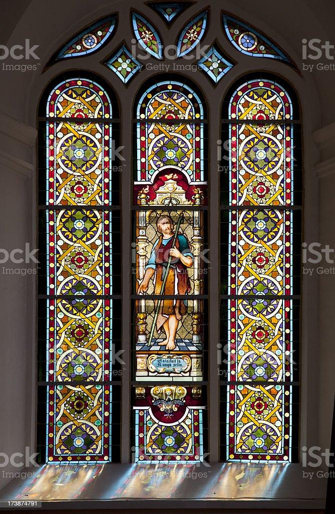 Windows in S:t Johannes church Riga, Latvia stock photo
