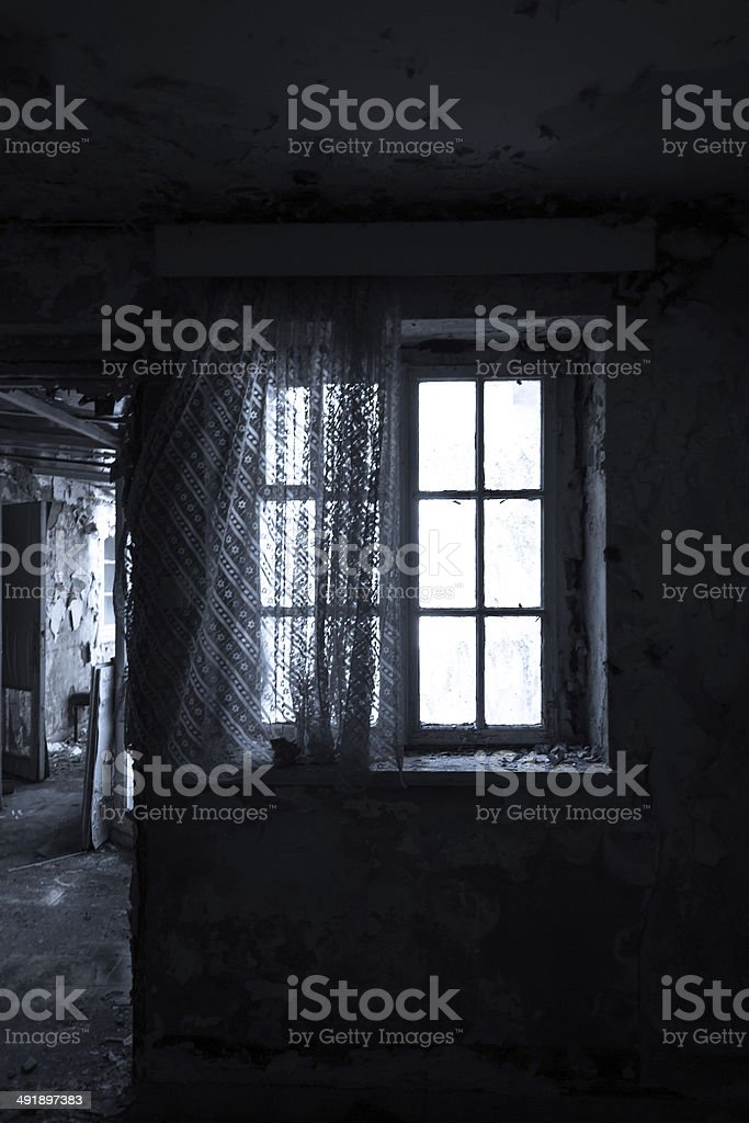Fenster im Mondlicht stock photo