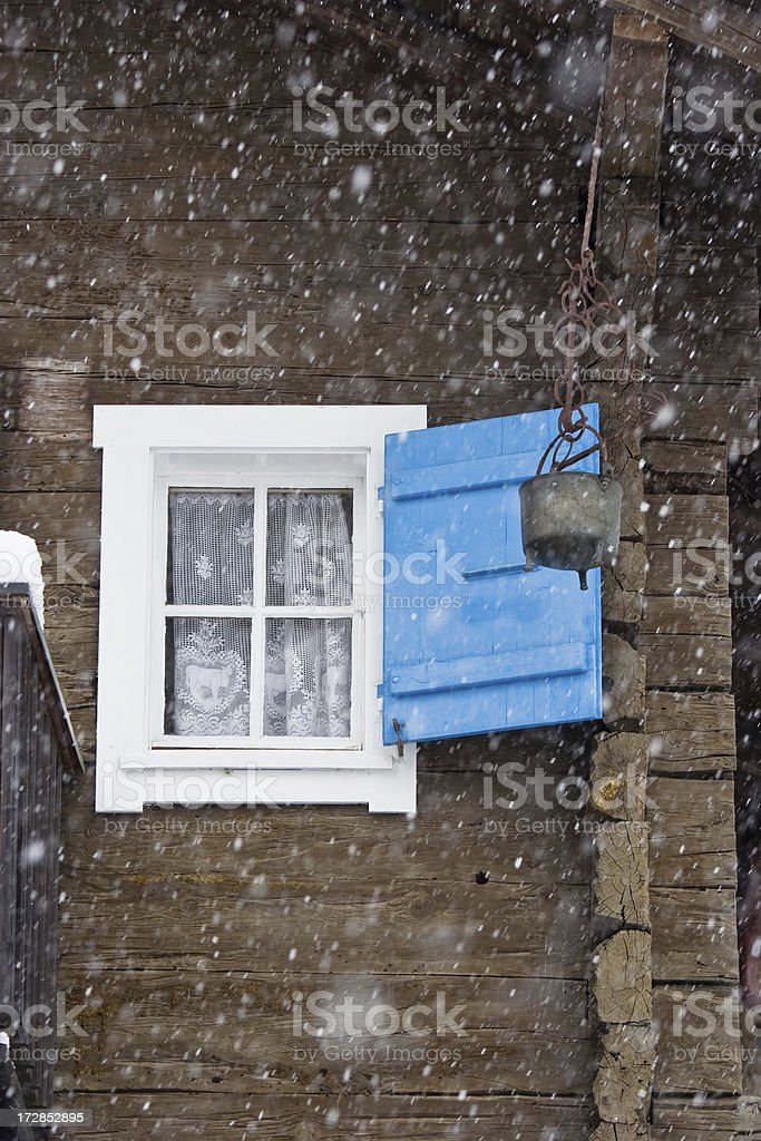 Windows in the snow stock photo