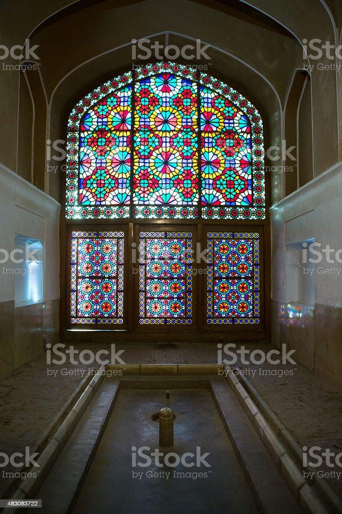 Windows in tradicional mosque in Yazd, Iran stock photo