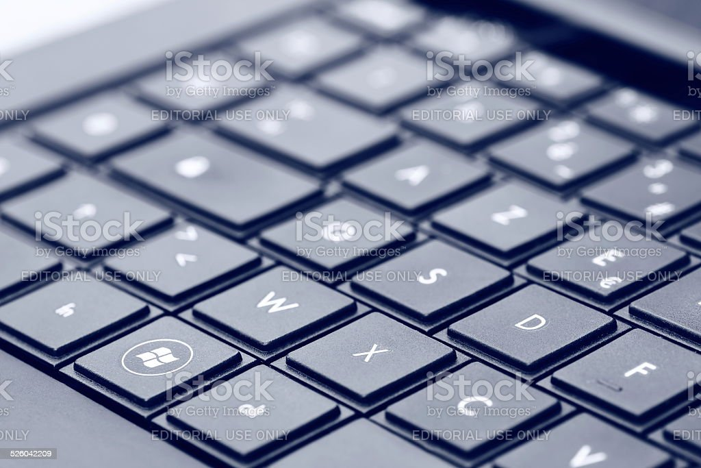 Windows logo on laptop keyboard stock photo