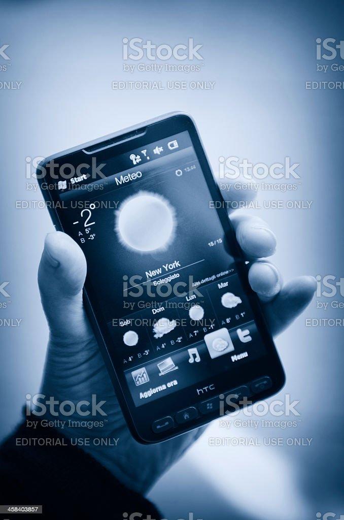 Windows Mobile weather ( new york ) on smarthphone royalty-free stock photo