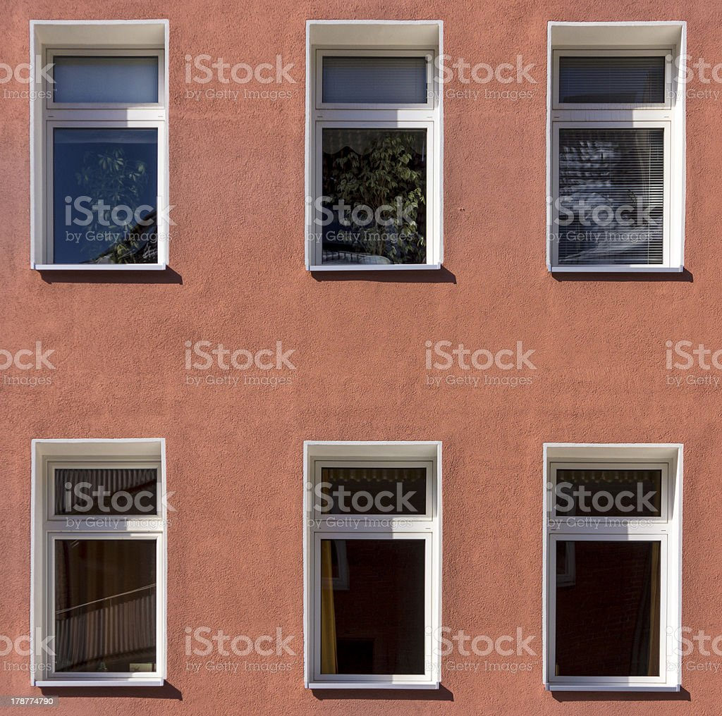 Windows of a apartment building royalty-free stock photo