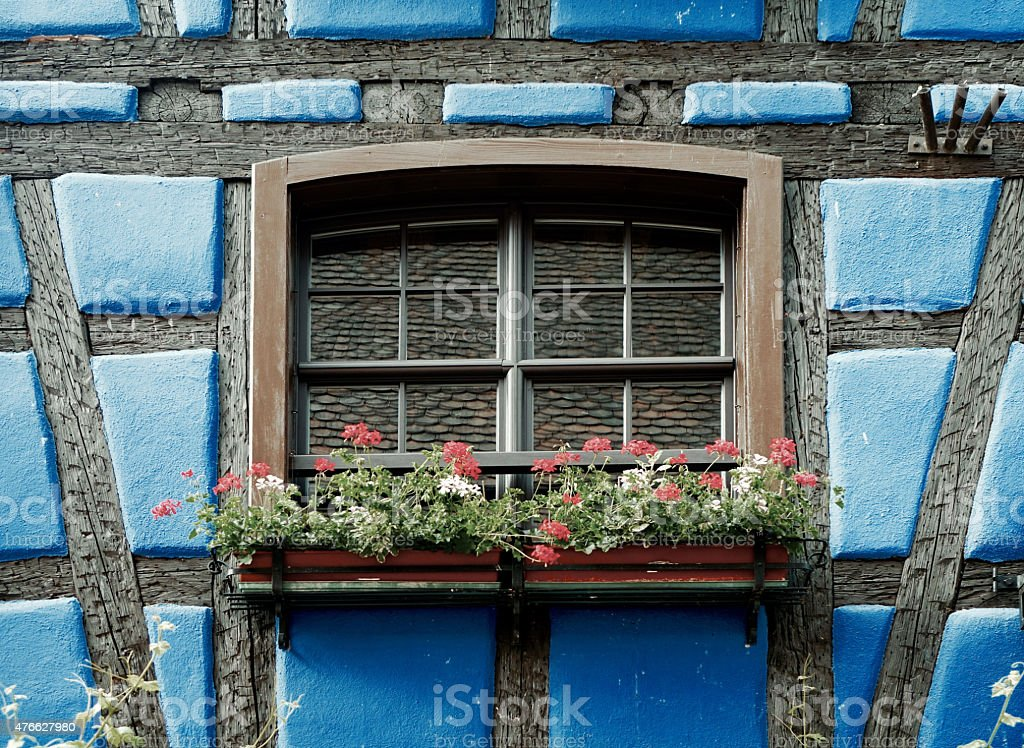 windows of a half-timber stock photo