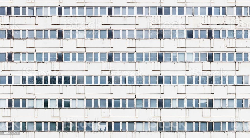 Windows of a precast concrete building in Berlin (seamless tile) stock photo