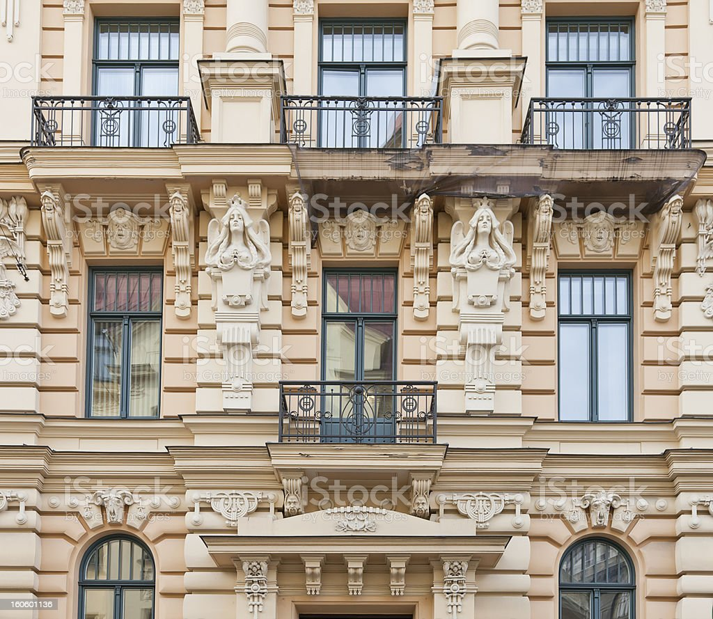Windows of an old building at the Alberta street royalty-free stock photo