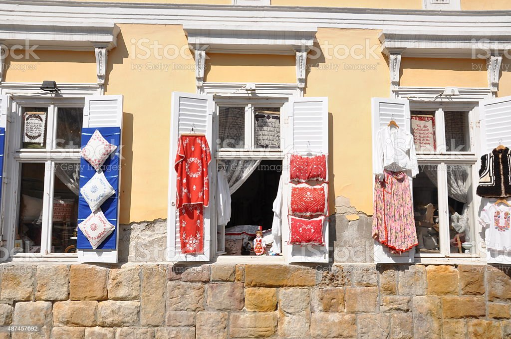 Windows of an old building in Szentendre stock photo